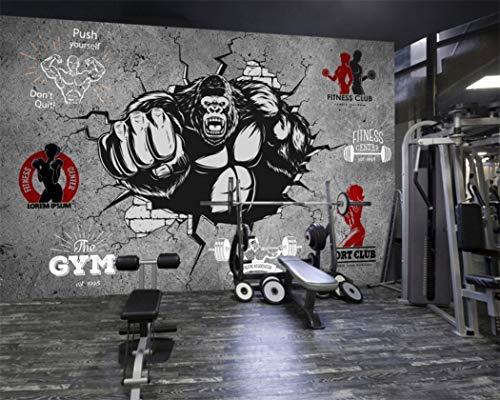 Tapete Hintergrund-Tapetenbenutzerdefinierte 3D Gym Cartoon Fototapete Kreative Fitness Bodybuilding Gorilla Breaking Wand Gym Hintergrund Wand, 300 * 210 Cm