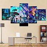 DXZJN 5 carteles lienzo tema de dibujos animados figura pintura conjunto de tela póster de pared pintura artística decoración de la sala de estar en el hogar Impresiones sobre Lien Sin marco 150*80CM