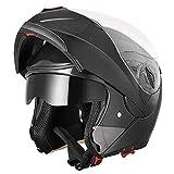 AHR Full Face Flip up Modular Motorcycle Helmet DOT Approved Dual Visor...