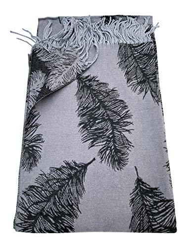 Bufanda de plumas de color gris oscuro, súper suave, con borlas para invertir, suave y cálida, elegante bufanda a la moda