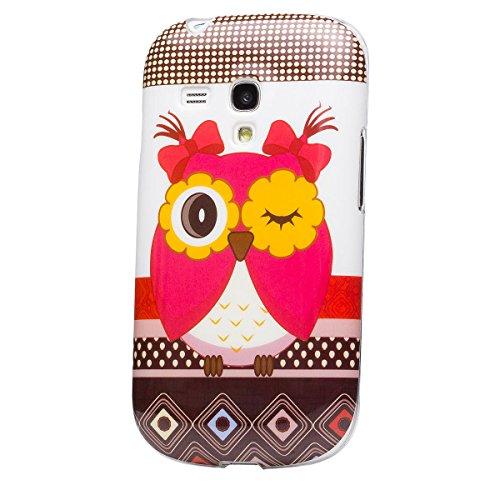 iCues Schutzhülle kompatibel mit Samsung Galaxy S3 MINI   Design TPU Case Blumen Eule Owl Eule   [Display Schutzfolie Inklusive] Damen Frauen Silikon Gel Motiv Muster Hülle Cover Schutz