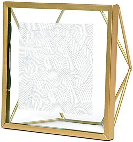 Aaedrag - Marco de fotos geométrico de metal, accesorios decorativos sin alfombrilla blanca, marco de cristal moderno, para montar en la pared, regalo único para pareja de pie (tamaño: 17,8 x 22,6 cm)