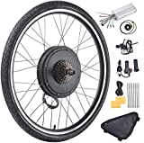 Fineshine 26' Front/Rear Wheel Electric Bicycle Wheel Kit 48V 1000W E-Bike Conversion Kit, Cycling Hub Motor with Intelligent Controller and PAS System for Road Bike (Rear Wheel)
