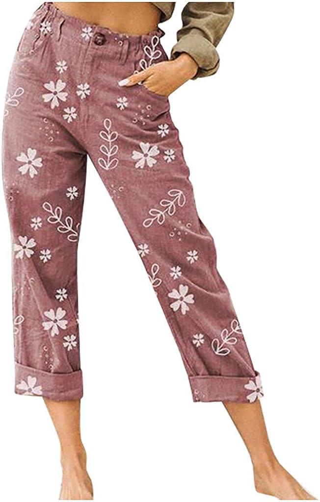 JOFOW Womens Capri Pants Loose Plus Size Straight Leg Pants Button Casual Trousers