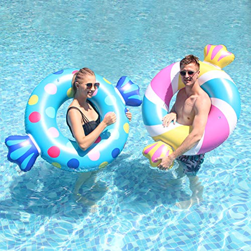 Parentswell Giant Pool Floats, 39' Inflatable Candy Pool Float Swimming Ring Tubes, 2Pcs Summer Water Party Lake Swim Rings Pool Floaties Toys for Adult