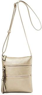 Yuwegr Damen Crossbody Taschen Wild Mode Elegante Schultertaschen PU Messenger Bag Reißverschluss Einfarbig Frauen Umhänge...