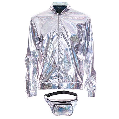 70s 80s 90s Foil Metallic Shiny RAVE Bomber Jacket Hologram Festival Fancy Dress silver