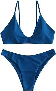 ZAFUL Women's Tie Back Padded High Cut Bralette Bikini Set Two Piece Swimsuit