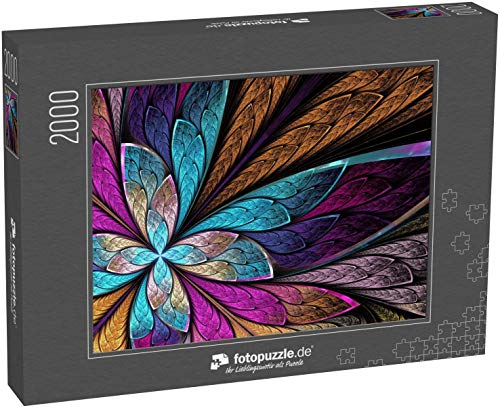fotopuzzle.de Puzzle 2000 Teile Wunderschöne fraktale Blume oder Schmetterling im Stil eines Buntglasfensters