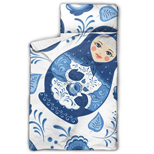 WYYWCY Russische Nesting Matroschka Puppe Schlafsäcke Kinder Beste Nickerchen Matte mit Decke und Kissen Rollup Design ideal für Vorschule Kindertagesstätte Sleepovers 50