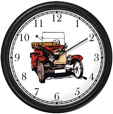 Vintage Classic Automobile No.1 Wall Clock by WatchBuddy Timepieces (Black Frame)