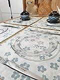 Xlabor Juego de 4 manteles individuales lavables resistentes al agua de algodón y lino, 40 x 30 cm, diseño F