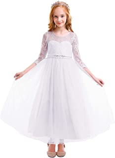 e0807342f6 OBEEII Kid Girl Lace Flower Tutu Dress First Communion Junior Bridesmaid  Ball Gown