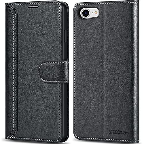 ykooe Handyhülle Kompatibel mit iPhone SE 2020 Hülle, Hochwertige PU Leder Handy Schutz Hülle für iPhone SE 2020/7/8 Flip Tasche, Schwarz