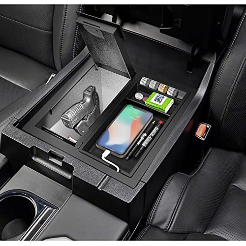 3mirrors Center Console Safe, Gun Safe Storage Box with Dual LED Lights, Organizer Coin Tray Compatible with Toyota Tundra (2014-2021) 00016-34174