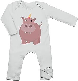 Shirt Happenz Nilpferd Unicorn Babybody Tiere Einhorn EIS Ice Cream Langarm Langärmliger Strampler, Farbe:Weiß White BZ13Größe:12-18 Monate