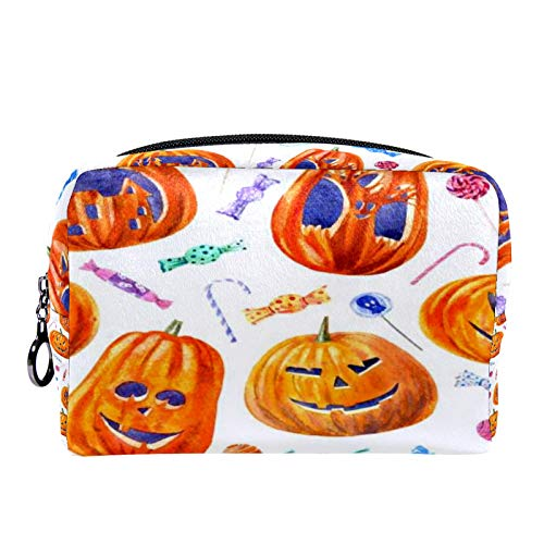 Cosmetic Bag Womens Makeup Bag for Travel to Carry Cosmetics,Change,Keys etc Seamless Pattern with Pumpkin Jack O Lantern LOL