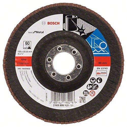 Bosch Professional Fächerschleifscheibe (für Winkelschleifer verschiedene Materialien, bombierte Ausführung, Ø 125 mm, Körnung 60)