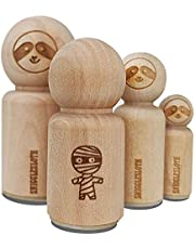 Wary Mummy Doodle Halloween Rubber Stamp for Stamping Crafting Planners - 1/2 Inch Mini