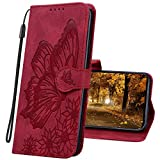 MRSTER Funda para Huawei P Smart 2019, Relieve Carcasa Cubierta la Tapa magnética Protector de Billetera Cuero de la PU Carcasa para Huawei P Smart 2019 / Honor 10 Lite. CY2 Butterfly Red