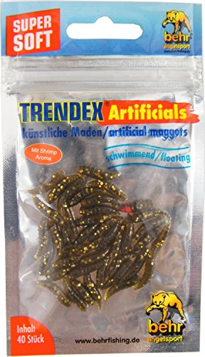 Behr 40 künstliche Maden - Gummimaden Forellenköder, Kunstmaden zum Forellenangeln, Kunstköder für Forellen, Farbe:Bronze-Glitter