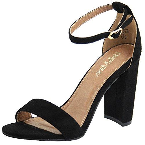 Bella Marie Shirley Women's Strappy Open Toe Block High Heel Sandals Black 7