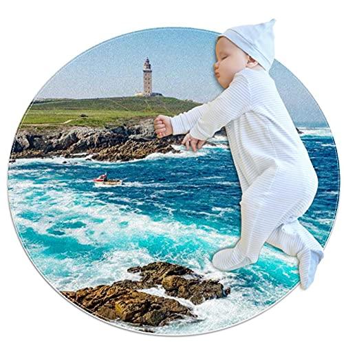 Alfombra Suave Redonda 80x80cm/31.5x31.5IN Alfombrillas Circulares Antideslizantes para el Suelo Alfombrilla para pie de Esponja Absorbente,Torre de Hércules en A Coruña