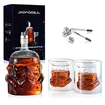 Transparent Creative Whiskey Decanter Set with 2 Glasses 4 Stainless Steel Ice Cubes and Ice Tong,Flask Carafe,Whiskey Carafe for Wine,Scotch,Bourbon,Vodka,Liquor - 750ML New Packaging