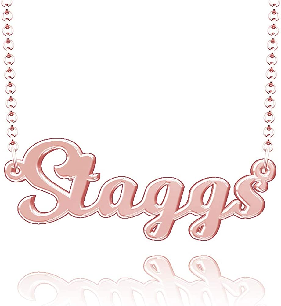LoEnMe Jewelry Customized Staggs Name Necklace Stainless Steel Plated Custom Made of Last Name Gift for Family