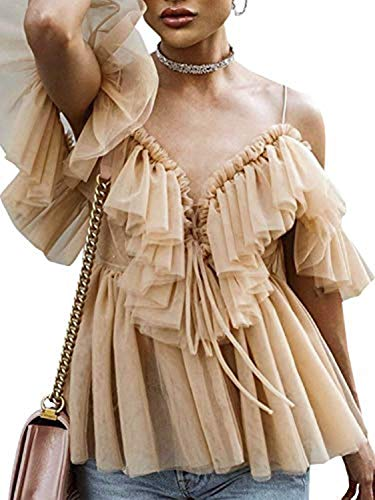 Simplee Women's Off Shoulder Sexy Ruffle Deep V Neck Blouse Shirt Lace Up Top (Nude 10)