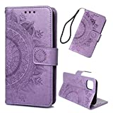 iPhone 11 Case, Mavis's Diary Premium PU Leather Wallet Embossed Totem Flower Wallet Flip Folio Case Drop Resistant Shockproof Soft TPU Inner Cover for iPhone 11 - Light Purple