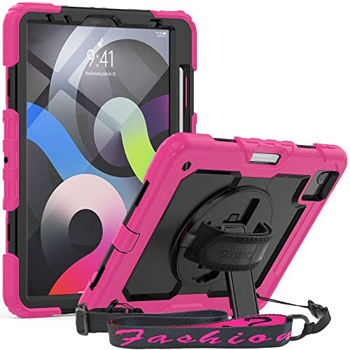SEYMAC iPad Air 4th Generation Case iPad 10.9 Case 2020 Full Protection Shockproof Case with Screen Protector [360 Rotatable Hand Strap Kickstand] Functional Cover for iPad Pro 11 2020/2018,Black/Pink