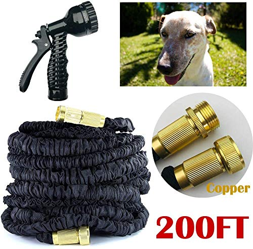 200FT Auto Stretch Hose Flexible Extendable Compact with Copper Connector Garden Hose Pipe Sprinkler Lawn Washing Car Pet Flower (200ft)