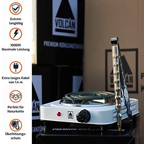 VOLCAN Premium Shisha Kohleanzünder für Shisha Kohle I Deutsche Qualitätsmarke I Inkl 25cm Zange I 1000W