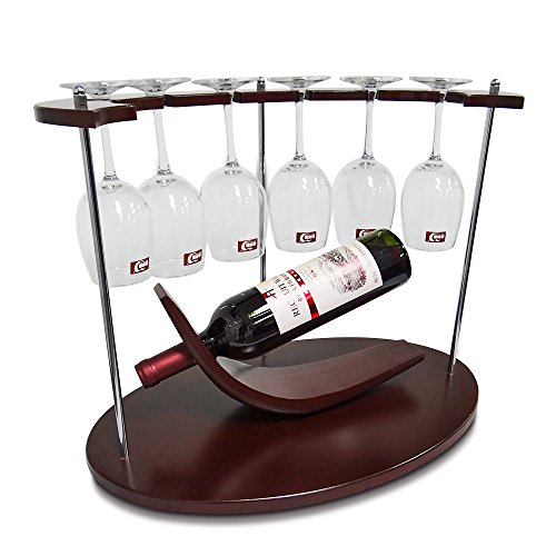 AMZNEVO Best Small Wine Rack with Glass Holder, Unique/Countertop/Free Standing/Wooden, 1 Bottle & 6 Glasses Stemware Organizer for Kitchen Furniture Decoration