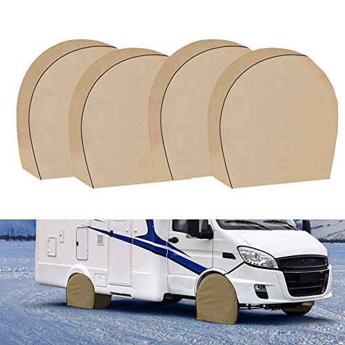 Tire Covers for RV Wheel Set of 4 Heavy Duty 600D Oxford Motorhome Wheel Covers, Waterproof PVC Coating Tire Protectors for Trailer Camper Truck Jeep SUV Auto(600D 29' - 31.75')