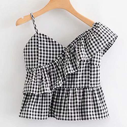 WDFSER Damenhemd mit unregelmäßigem Rüschenkragen und One-Shoulder-Träger. Kariertes, sexy Sommer-Freizeithemd für Damen