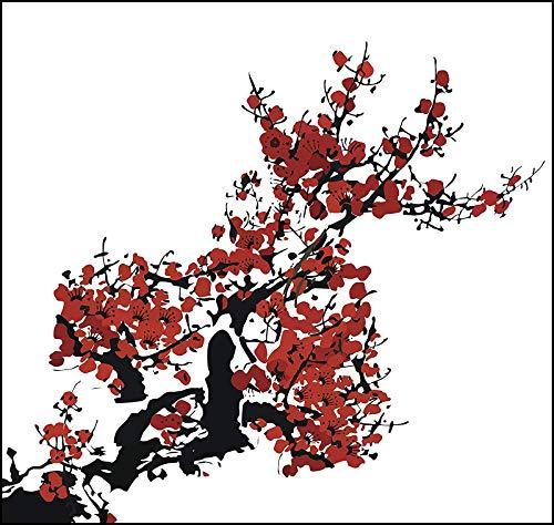 EW Designs Red Cherry Blossom Branch Icon Vinyl Decal Bumper Sticker (12' Wide)