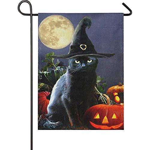 jiaxingdalin Hexenhut Katze Jack O Laterne Kürbis Vollmond Sackleinen Flagge Funny Scary Holiday Outdoor Yard Gartenflaggen Willkommen Herbst Herbst Banner