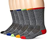 Chaps Men's Solid Casual Crew Socks with Accented Heel and Toe (6 Pack), grey assorted, Shoe Size: 6-12