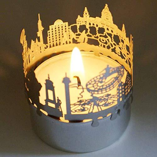 13gramm Hannover-Skyline Windlicht Schattenspiel Souvenir, 3D Edelstahl Aufsatz für Kerze inkl. Karte