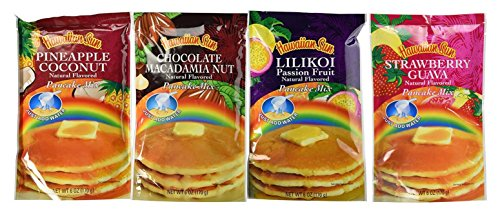 Hawaiian Sun Pancake Mix 4 pack (Chocolate Macadamia Nut, Lilikoi, Strawberry Guava, Pineapple Coconut)