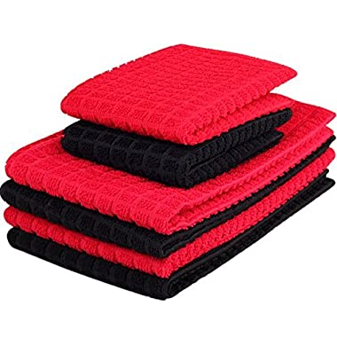 Kleanner 6 Packs Microfiber Kitchen Dish Cloth and Towel Set, Two Dish Cloth With Mesh Scour Side 12 x 12 Inch, Four Dish Towels 16 x 19 Inch, Absorbent and Fast Dry (Red and Black Color)