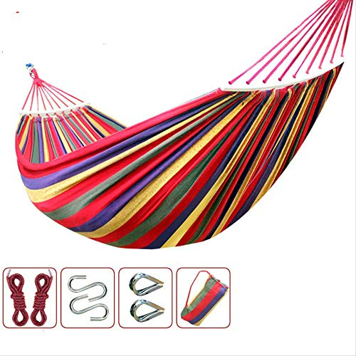 ZGRZ Hammock Outdoor Garden Hammock Anti-Roll Outdoor Single Double Thick Breathable Canvas Size 200X100Cm Load 200Kg Send 2 Straps 1 Collection Bag
