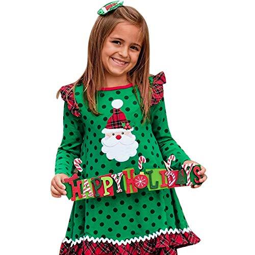 Ansenesna Weihnachten Kostüm Kinder Mädchen Kleid Langarm Baumwolle Soft Elegant Weihnachts Kleidung (120, Grün)