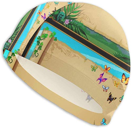 HFHY Bonnet de Bain Chapeau Deux bannières Rouleaux de parchemin avec Papillons Chapeau de Bain Confortable antidérapant