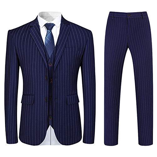 YuanLu Boys Colorful Formal Suits 5 Piece Slim Fit Dresswear Suit Set (Navy Blue, 5)
