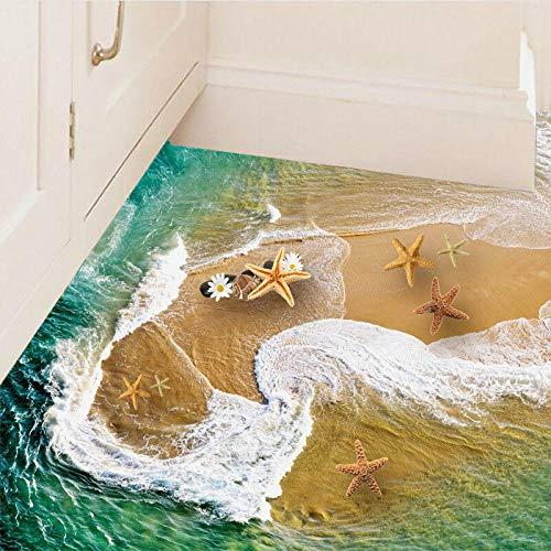 Suelo De Vinilo Pvc Pegatinas 3D Pared Del Piso De La Playa Calcomanías Murales Extraíbles Estrella De Mar Agua De Mar Etiqueta De La Pared Del Piso Papel Tapiz Mural Sala De Estar Decoración Para E