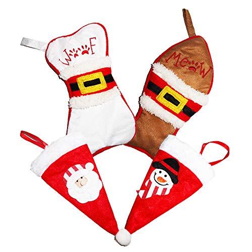 CNYMANY 4 stuks kerstservies houder, kerstmuts botten vis vork pak messen vorken tassen kerstboom party decoratie tafeldecoratie geschenk