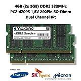 Maxano 4GB Dual Channel Kit (2X 2GB) DDR2 533MHz PC2-4200S SO Dimm 200Pin Unbuffered Non-ECC 1,8V Arbeitsspeicher RAM Memory